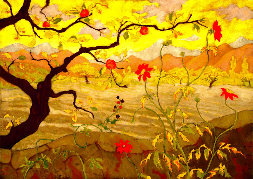 """An oil painting by Paul Ranson """"Apple Tree with Red Fruit"""" (Museum of Fine Arts)"""