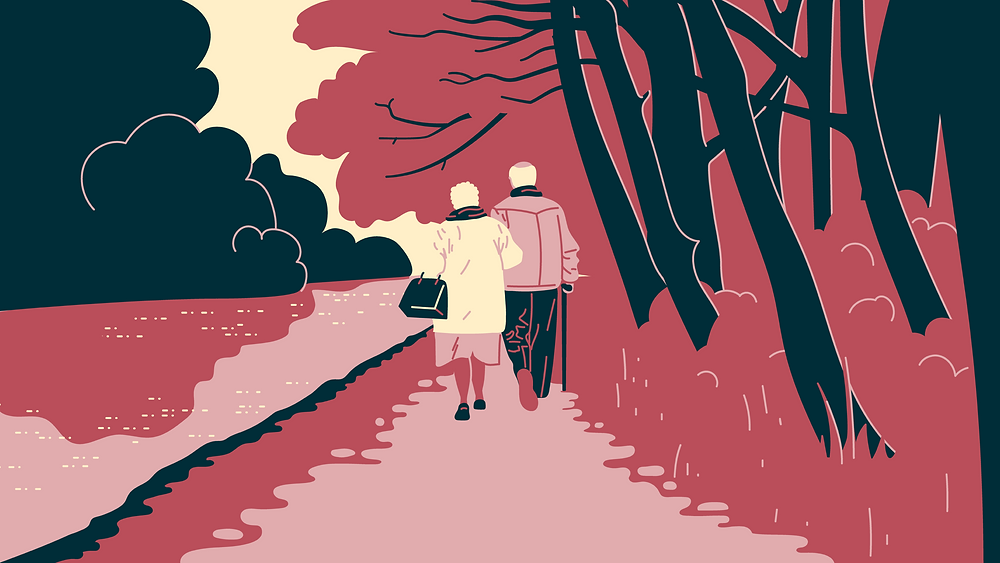 Illustration of an elderly couple taking a walk together along a canal in the park