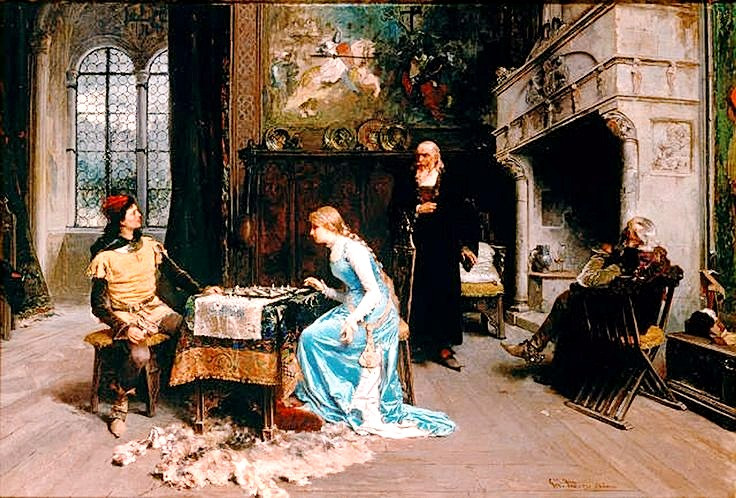 """Painting titled """"Una partita a scacchi (A Game of Chess)"""" (1881) by Girolamo Induno"""