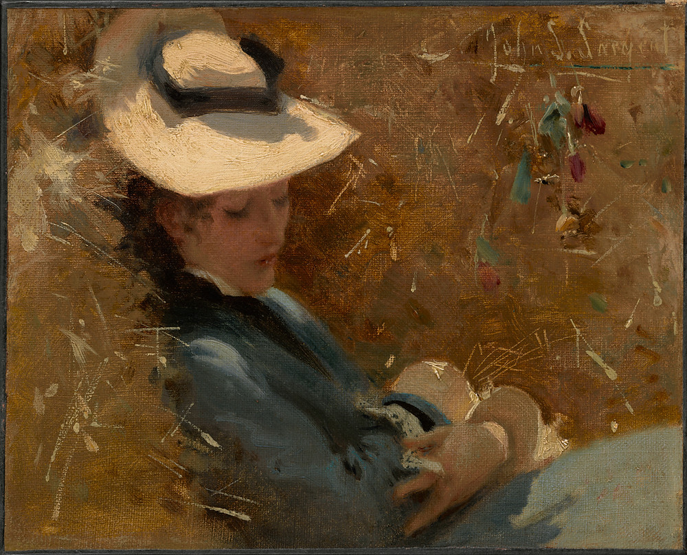 A painting of a young woman resting on the hay, by the great American portraitist John Singer Sargent (1856–1925).