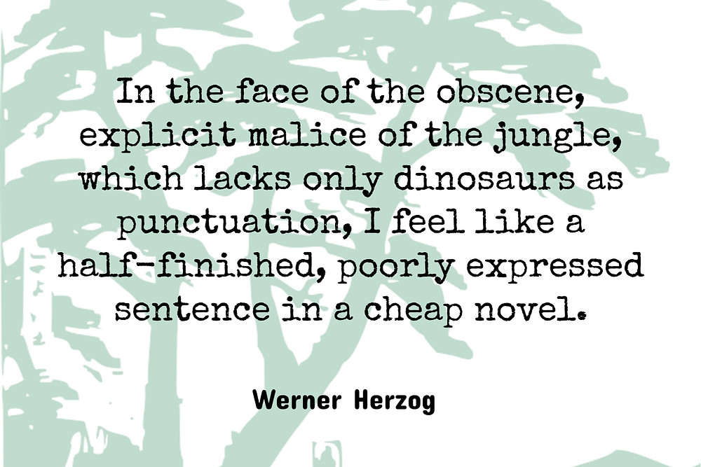"Werner Herzog's Quote ""In the face of the obscene, explicit malice of the jungle, which lacks only dinosaurs as punctuation, I feel like a half-finished, poorly expressed sentence in a cheap novel"""
