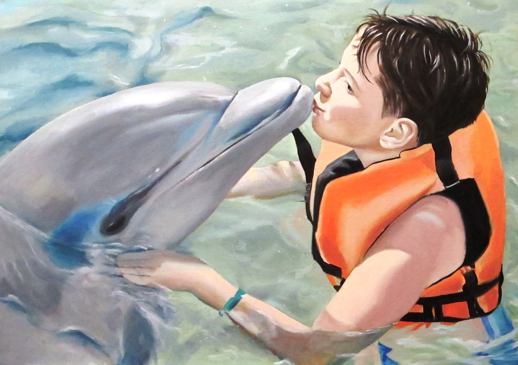 The boy and the dolphin, 2019, oil on canvas, 50 x 70 cm