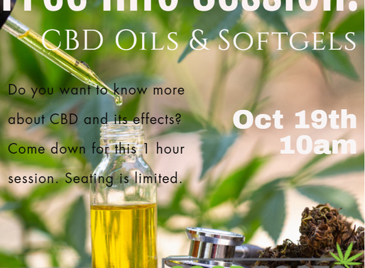 Free CBD: Oils & Softgels Info Session Oct 19th at 10am
