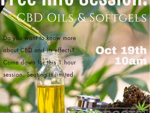 Free CBD: Oils & Softgels Info Session Oct 19th at 10am