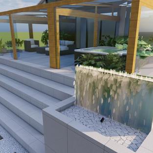 projekt taras ściany wodne