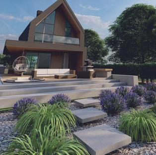 Wizaulizacja ogrodu dom i taras