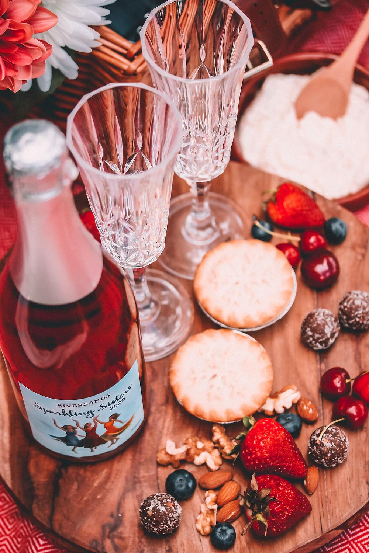 Sparkling rosé and a dessert board picnic