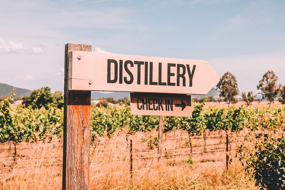 Sign to a distillery