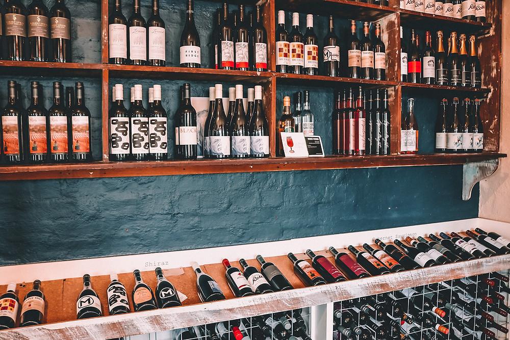Shelves in a wine shop