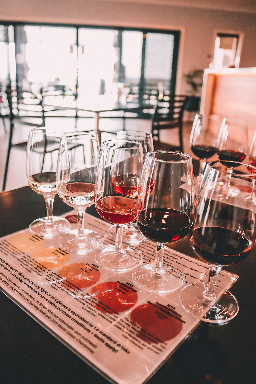 Wine glasses for a wine tasting flight