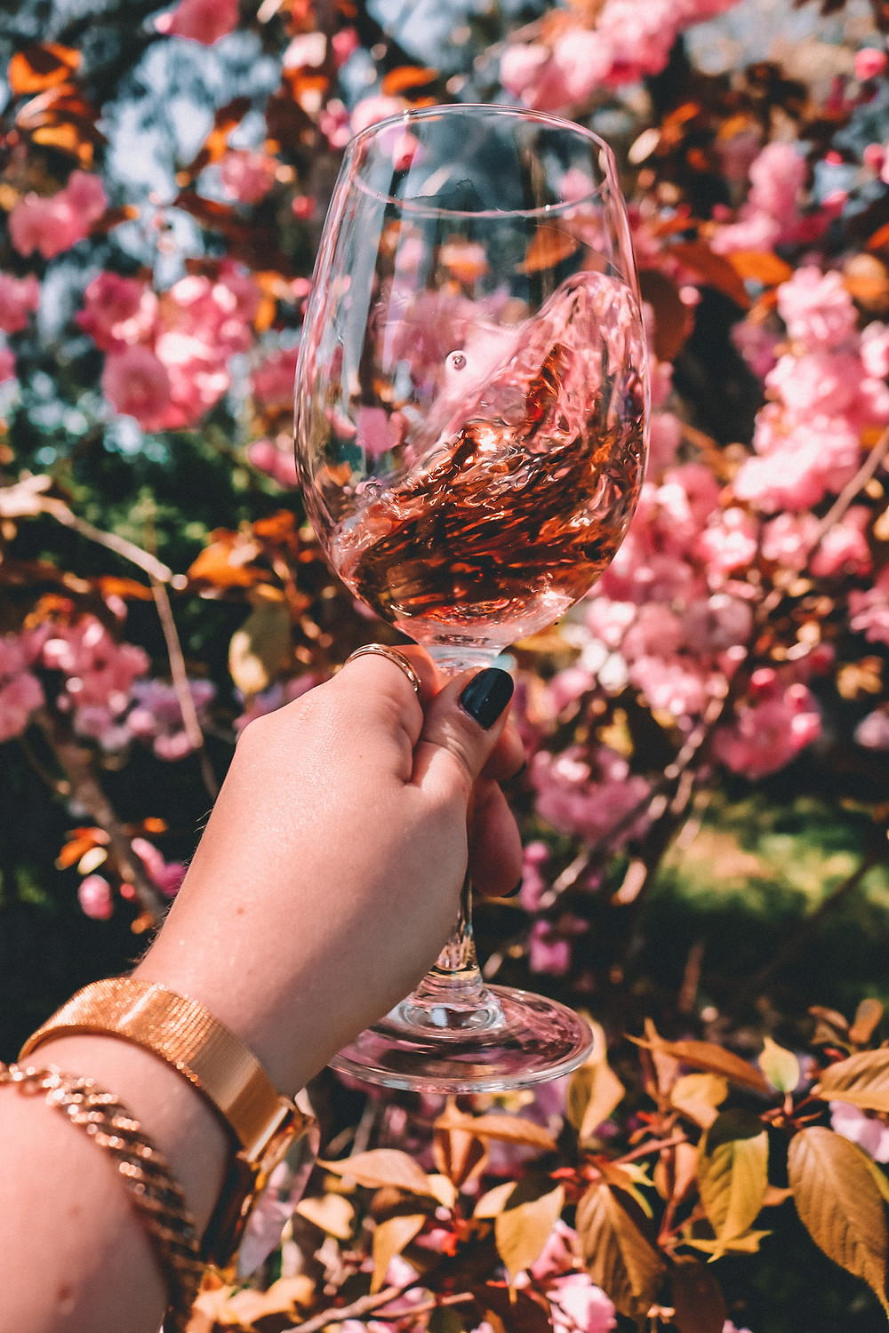 Rosé for spring in front of blossom trees