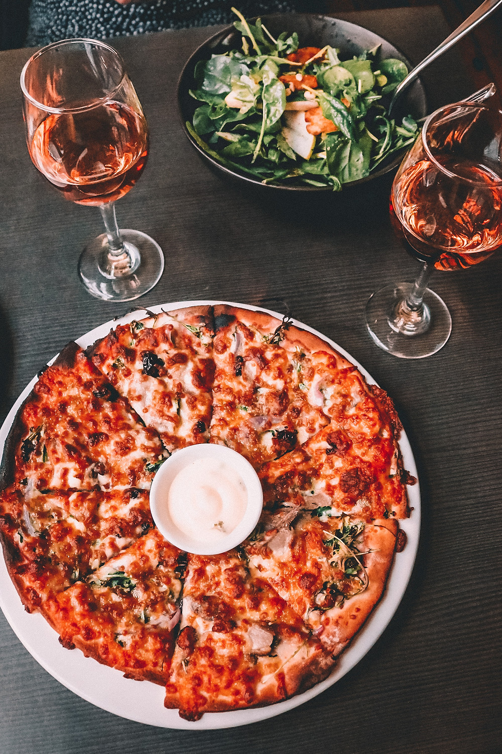 Pizza and wine at Roth's Wine Bar