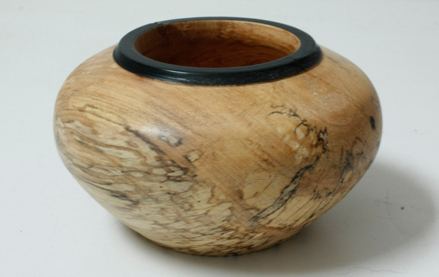 Spalted maple bowl with black rim