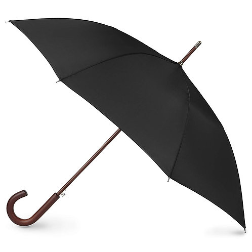Totes Isotoner Blue Line Auto Wooden Stick Umbrella