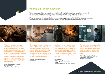 Testimonials page for Bottle Yard Studios digital brochure