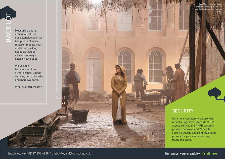 Exterior back lot page of the Bottle Yard Studios digital brochure