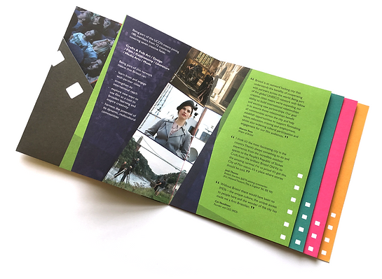 Brochure to hand out at film festivals promoting Bristol's status as a Unesco awarded City of Film designed by Bristol graphic designer David Martin