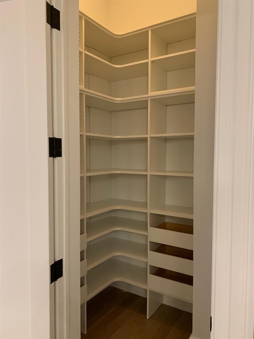 Pantry-White Material -Corner Shelving