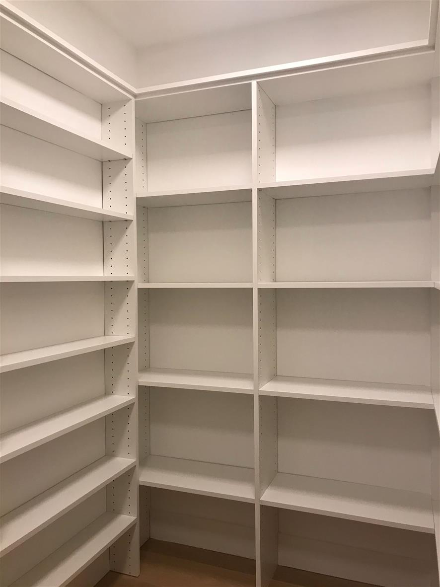 Pantry-White Melamine -Corner Shelves