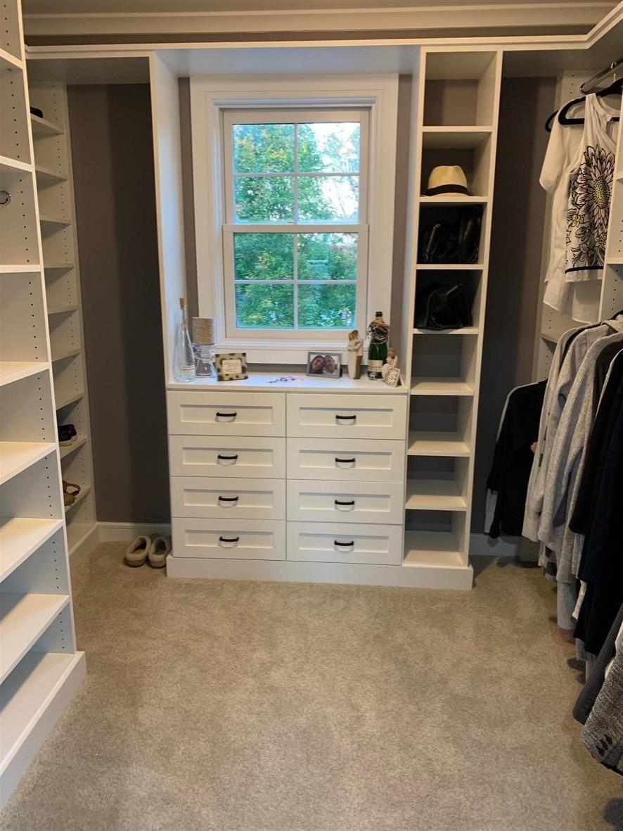 White Shaker Master Closet
