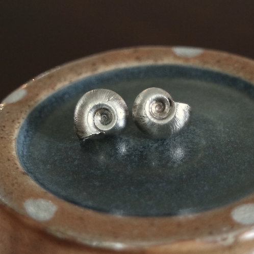 Chunky Silver Snail Earrings