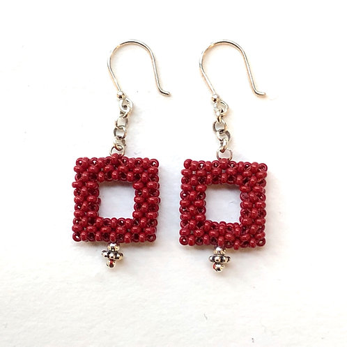 Square One Earrings in Delicious Red