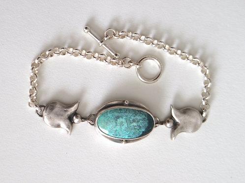 Turquoise & Two Tulips Bracelet