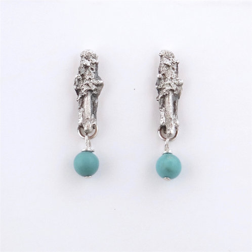 Twig One w Turquoise Earrings
