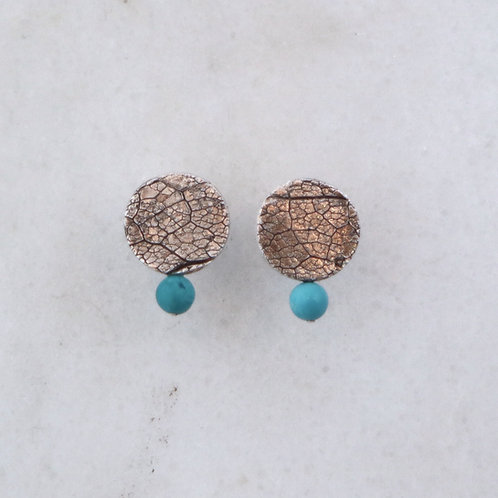 Leaf Texture Earrings w/Turquoise