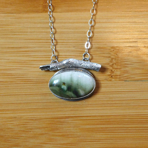 Driftwood and Green Stone Necklace