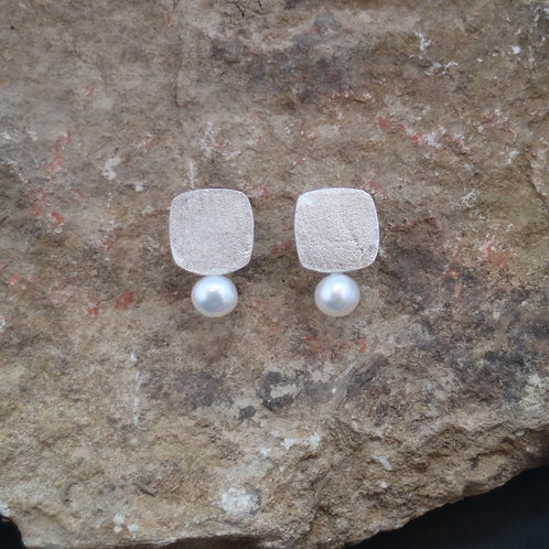 Silver Squares w Pearls