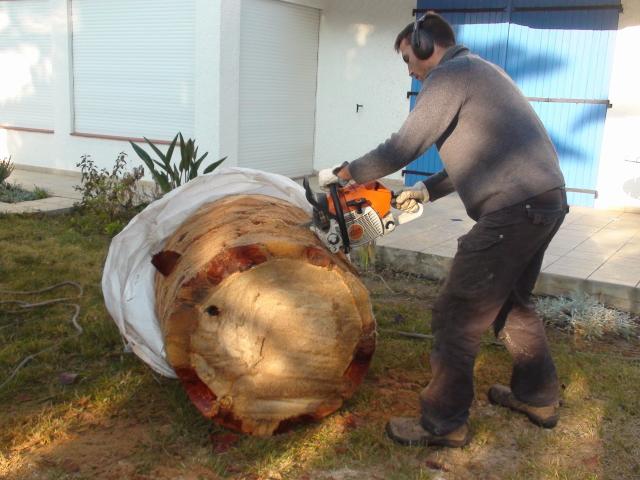 débitage d'un tronc