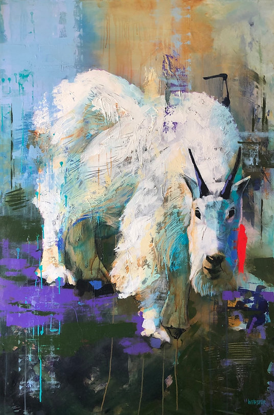 multi-colour acrylic painting titled Goat, Disrupted by artist john webster.