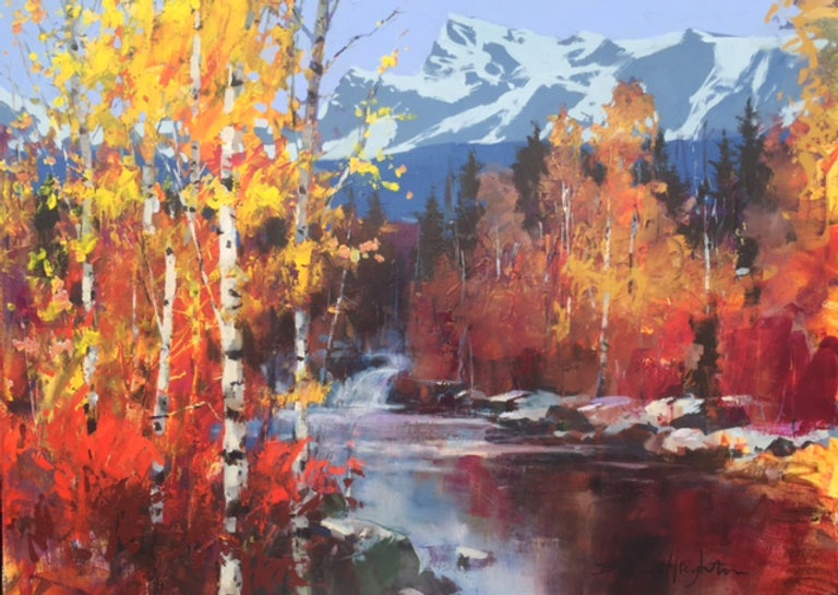 multi-colour oil painting titled SOLD The Rockies - all about Colour by artist brent heighton.