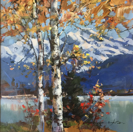 multi-colour arcylic painting titled SOLD-Reflections by artist brent heighton.