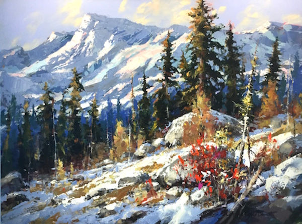 multi-colour arcylic painting titled A High Country Pattern by artist brent heighton.