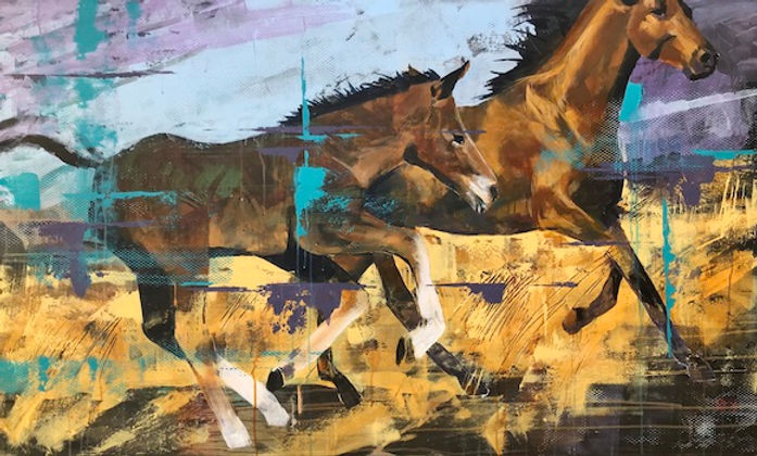 multi-colour acrylic painting titled Midday Frolic by artist John Webster.