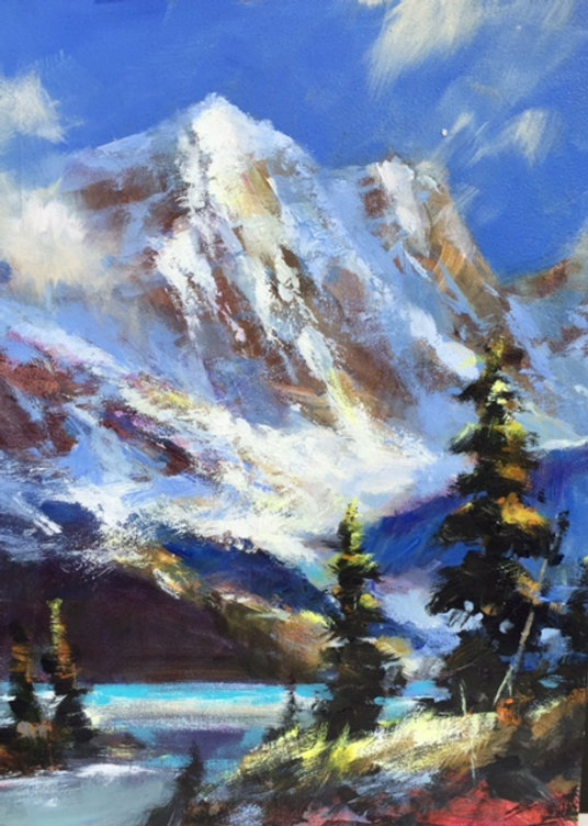 multi-colour oil painting titled SOLD-Spotlight on the Ridge by artist brent heighton.