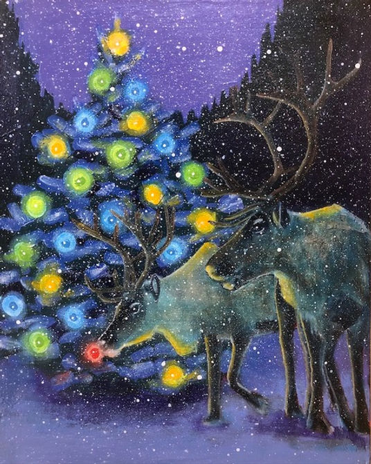 multi-colour acrylic painting titled Reindeer by artist john webster.
