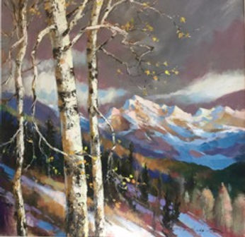 multi-colour arcylic painting titled A Distant View by artist brent heighton.