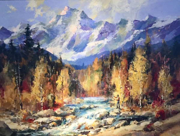multi-colour arcylic painting titled A Kananaskis Day by artist brent heighton.