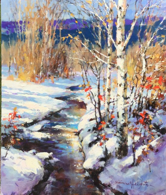 multi-colour oil painting titled SOLD - AUTUMN SNOWFALL by artist brent heighton.