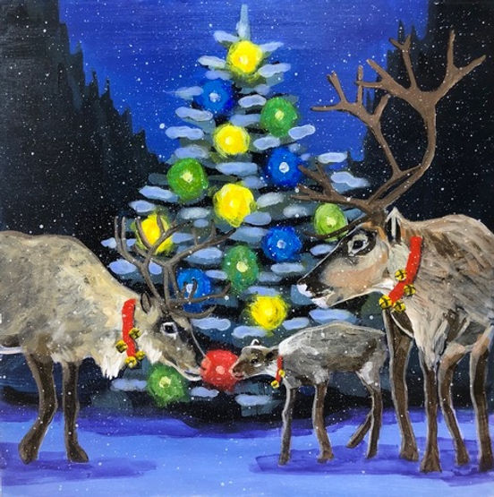 multi-colour acrylic painting titled 'Red Nose Reindeer' by artist john webster.