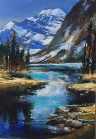 multi-colour oil painting titled SOLD-Towards Edith Cavell by artist brent heighton.