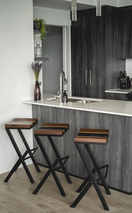 furniture titled Custom Wood/Resin Bar Stools by artist Benjamin McLaughlin.