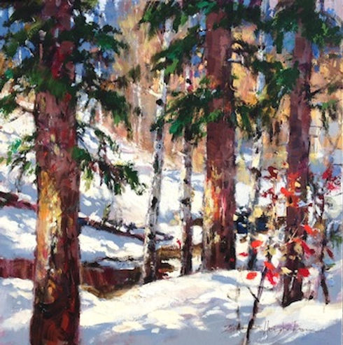 multi-colour oil painting titled Forest Hush by artist brent heighton.