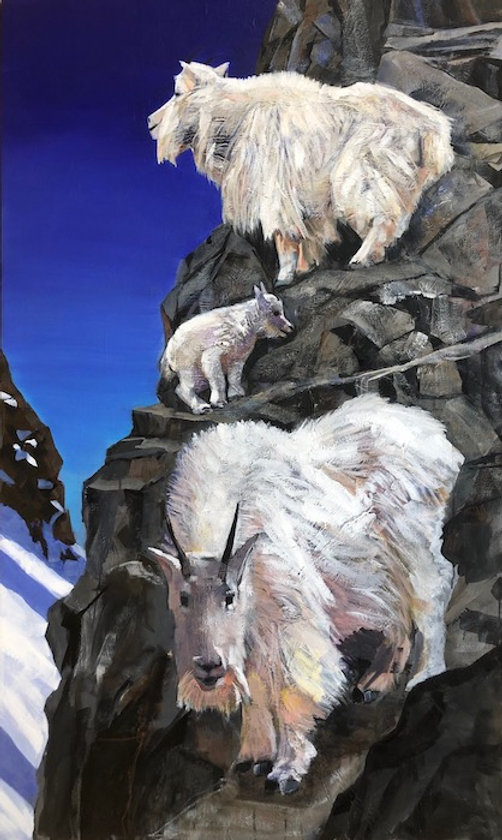 multi-colour acrylic painting titled SOLD Cliff Dwellers by artist john webster.
