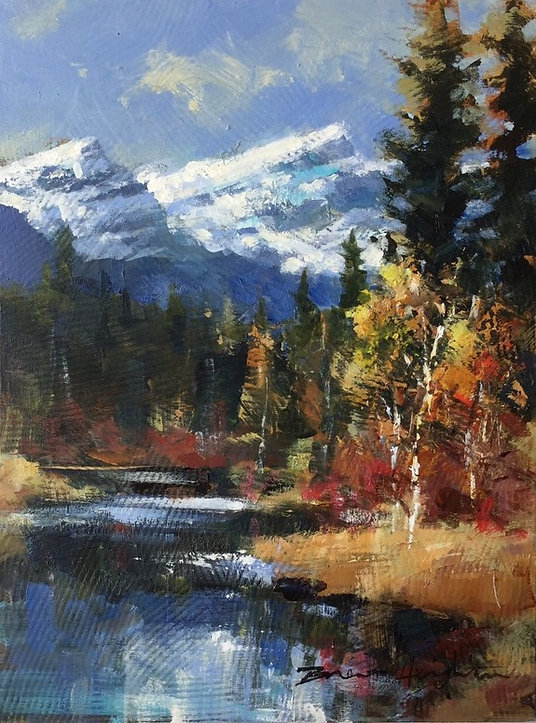 multi-colour arcylic painting titled SOLD - A Day in the Mountains by artist brent heighton.