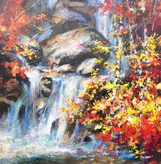 multi-colour oil painting titled Shannon Falls by artist brent heighton.