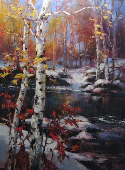 multi-colour oil painting titled SOLD-Transition II by artist brent heighton.